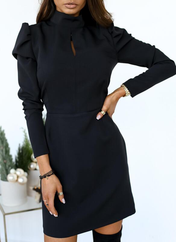 Einfarbig Lange Ärmel/Puffärmel Etui Über dem Knie Kleine Schwarze/Elegant Kleider