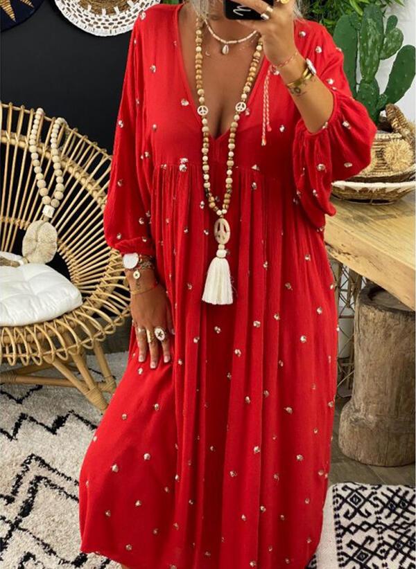 Einfarbig/Perlen 3/4 Ärmel Shift Freizeit Maxi Kleider