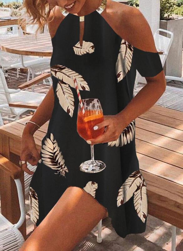 Druck Kurze Ärmel Shift Über dem Knie Freizeit Tunika Kleider