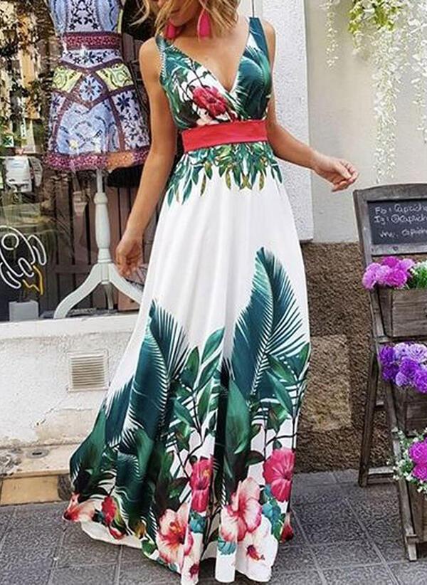 Druck/Blumen Ärmellos A-Linien Party/Urlaub Maxi Kleider