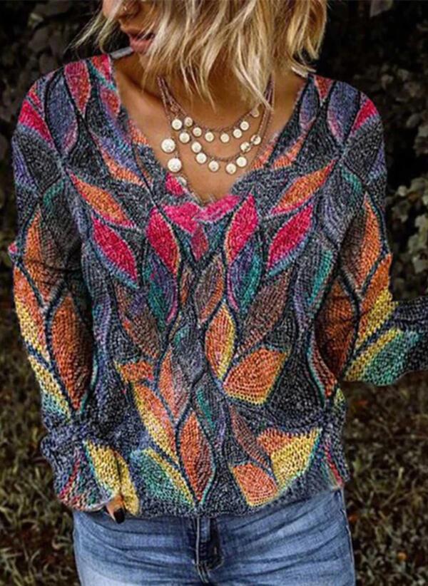 Print V-Neck Casual Knit Tops