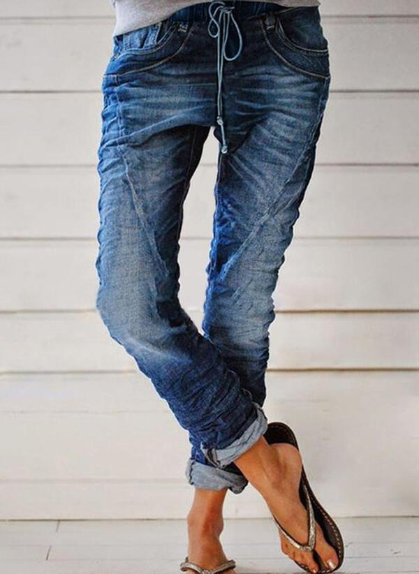 Geometrisch Shirred Übergröße Lange Lässige Kleidung Stammes Denim Jeans