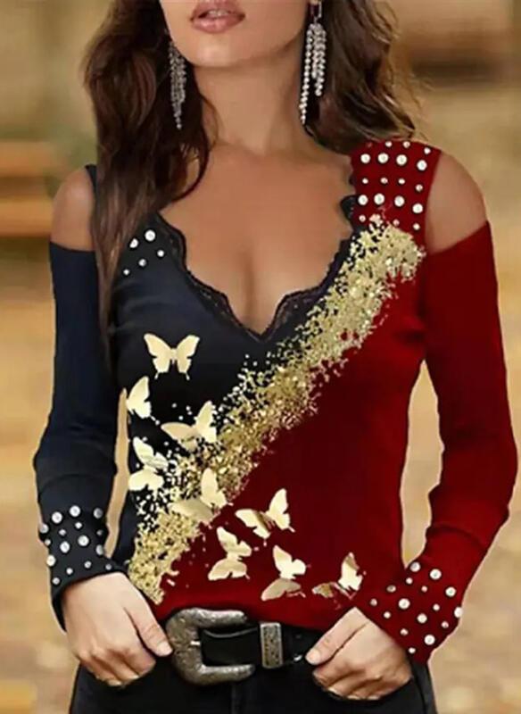 Print Color Block Animal Lace Cold Shoulder Long Sleeves Cold Shoulder Sleeve Elegant Blouses