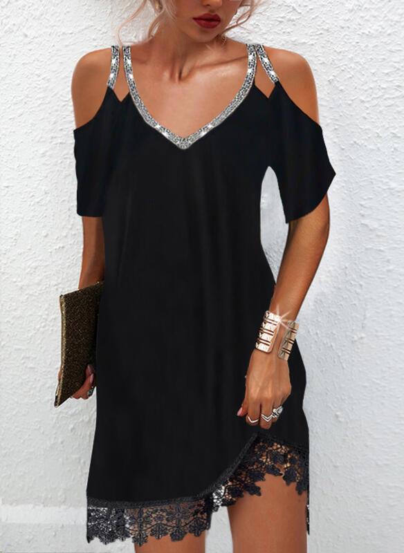 Solid Lace/Sequins 1/2 Sleeves Cold Shoulder Sleeve Shift Above Knee Little Black/Elegant Dresses