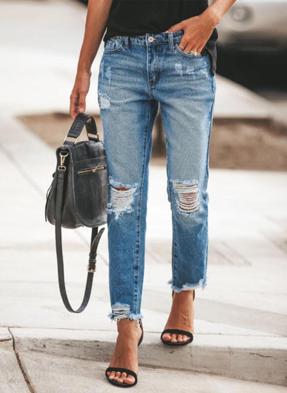 Shirred Übergröße Zerrissen Elegant Einfach Denim Jeans