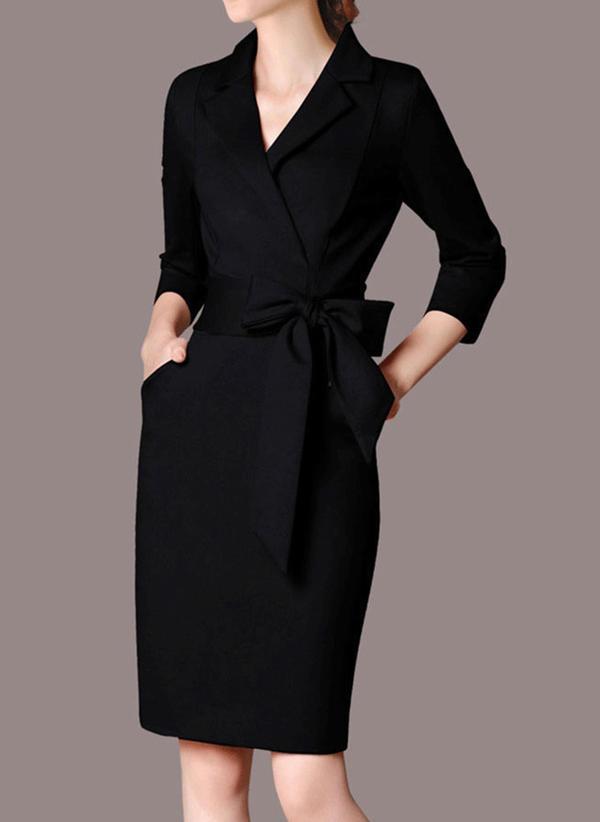Couleur Unie Manches Longues Moulante Longueur Genou Petites Robes Noires Elegante Crayon Robes 199213594 Robes 213594 Chicsoso