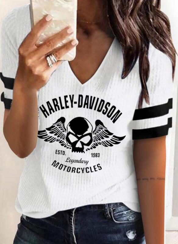 Figur Druck Gestreift V-Ausschnitt Kurze Ärmel T-Shirts