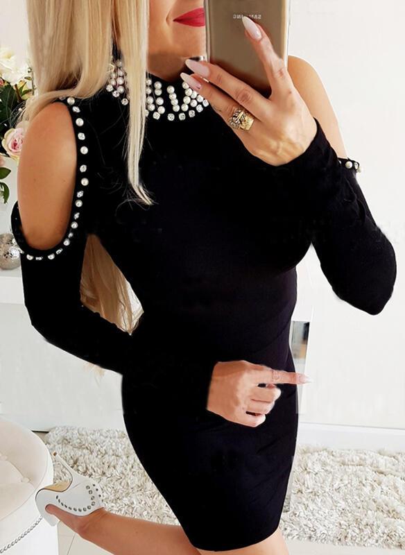 Einfarbig/Perlen Lange Ärmel Figurbetont Über dem Knie Kleine Schwarze/Elegant Kleider