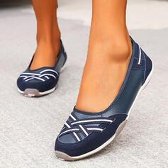 Frauen PU Flascher Absatz Flache Schuhe Round Toe Schlüpfen mit Spleißfarbe Streifen Schuhe
