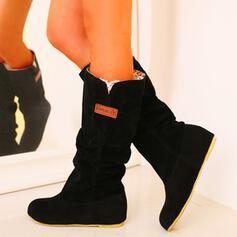 Frauen PU Niederiger Absatz Stiefel Schneestiefel Round Toe mit Einfarbig Schuhe