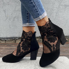 Women's Suede Chunky Heel Boots With Applique Stitching Lace Zipper Floral shoes
