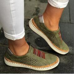 Frauen Kunstleder Flascher Absatz Flache Schuhe mit Hohl-out Schuhe