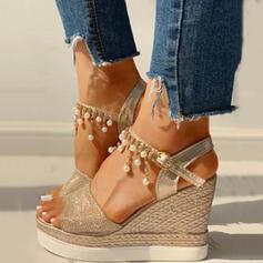 Frauen PU Keil Absatz Sandalen Keile Peep Toe Heels mit Strass Schuhe