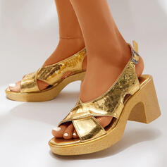 Women's PU Chunky Heel Sandals Pumps Peep Toe With Solid Color shoes