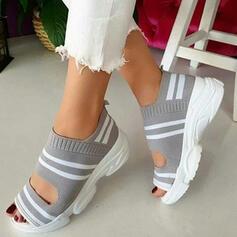 Frauen Stoff Mesh Keil Absatz Sandalen Keile Peep Toe mit Andere Schuhe