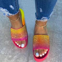 Frauen Stoff Flascher Absatz Sandalen Flache Schuhe Plateauschuh Peep Toe Pantoffel mit Strass Spleißfarbe Schuhe