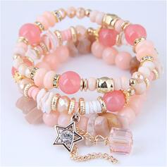 Klassische Art Legierung Perlen mit Star Armbänder (3-er Set)