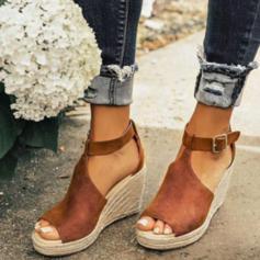 PU Keil Absatz Sandalen Keile Peep Toe mit Schnalle Schuhe
