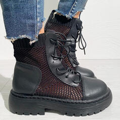 Women's PU Flat Heel Martin Boots Round Toe With Lace-up Hollow-out Solid Color shoes
