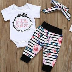3 Stücke Baby Mädchen Buchstaben Blumen gestreift Druck Baumwolle Stellen Sie Größe