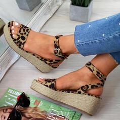 Frauen PU Keil Absatz Sandalen Keile Peep Toe mit Schnalle Tierdruckmuster Schuhe
