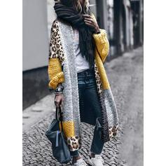 Geblockte Farben Leopard Freizeit Lang Strickjacken
