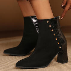 Women's Suede PU Chunky Heel Mid-Calf Boots Pointed Toe With Rivet Zipper shoes