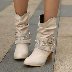 Women's Leatherette Chunky Heel Boots With Rhinestone Rivet Buckle Solid Color shoes