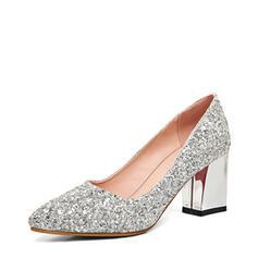 Frauen Funkelnde Glitzer Stämmiger Absatz Absatzschuhe Geschlossene Zehe Schuhe