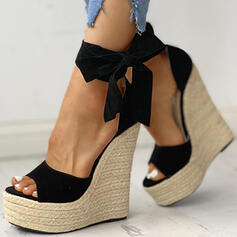 Frauen PU Keil Absatz Sandalen Keile Peep Toe mit Zuschnüren Schuhe
