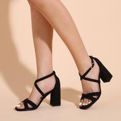Frauen Stoff Stämmiger Absatz Sandalen Absatzschuhe Peep Toe Heels mit Schnalle Hohl-out Schuhe