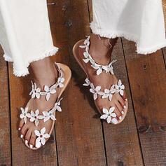 Frauen PU Flascher Absatz Sandalen Absatzschuhe Geschlossene Zehe Quadratischer Zeh Heels mit Perlstickerei Blume Schuhe