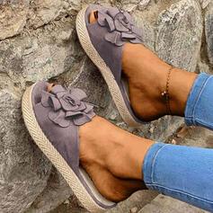 Frauen Veloursleder Flascher Absatz Sandalen Flache Schuhe Peep Toe Pantoffel mit Blume Schuhe