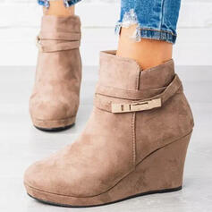 Women's Suede Wedge Heel Boots Ankle Boots Low Top Round Toe With Buckle Solid Color shoes