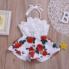 Baby Mädchen Blumen Spitze Druck Baumwolle Kleid
