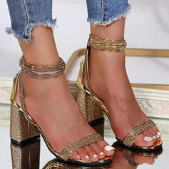 Women's PU Chunky Heel Sandals Pumps Peep Toe Heels With Sparkling Glitter shoes