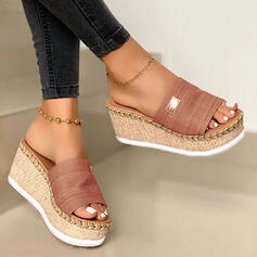 Frauen Veloursleder Keil Absatz Sandalen Keile Peep Toe Pantoffel mit Andere Schuhe