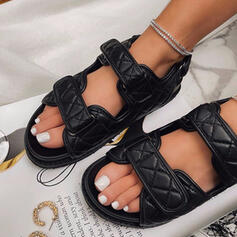 Frauen PU Flascher Absatz Sandalen Flache Schuhe Peep Toe mit Bowknot Hohl-out Klettverschluss Schuhe