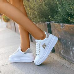 Frauen PU Lässige Kleidung Outdoor mit Nachahmungen von Perlen Zuschnüren Schuhe