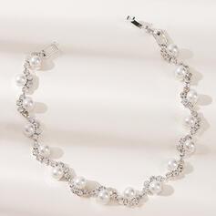 Glänzende Legierung Strasssteine mit Strasssteine Faux-Perlen Frauen Damen Armbänder
