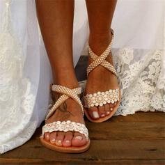 Frauen Spitze PU Flascher Absatz Sandalen Peep Toe Slingpumps mit Blume Kreuz und quer Schuhe