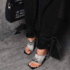 Frauen PU Stöckel Absatz Sandalen Absatzschuhe Peep Toe Quadratischer Zeh mit Tierdruckmuster Hohl-out Schuhe