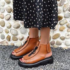 Frauen PU Flascher Absatz Sandalen Plateauschuh Slingpumps mit Reißverschluss Schuhe