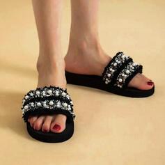 Frauen Stoff Flascher Absatz Sandalen Flache Schuhe Peep Toe Pantoffel mit Perlstickerei Hohl-out Schuhe