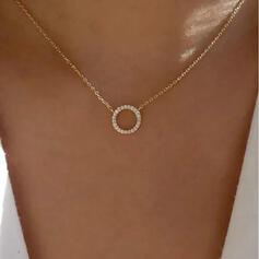 Glänzende Einfache Legierung Strasssteine Frauen Halsketten