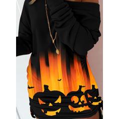 Halloween Print/Animal Long Sleeves Dropped Shoulder Bodycon Above Knee Casual Sweatshirt Dresses