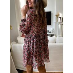 Druck/Blumen Lange Ärmel Shift Über dem Knie Freizeit Tunika Kleider