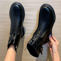 Women's PU Wedge Heel Boots Ankle Boots Round Toe With Buckle Solid Color shoes