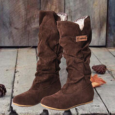 Women's Suede Flat Heel Mid-Calf Boots Round Toe With Solid Color shoes