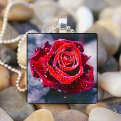 Romantische Blumen Valentinstag Legierung Glas Frauen Halsketten